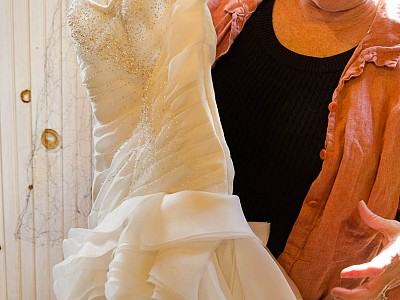 2-Deb Spaulding sewed a wedding gown