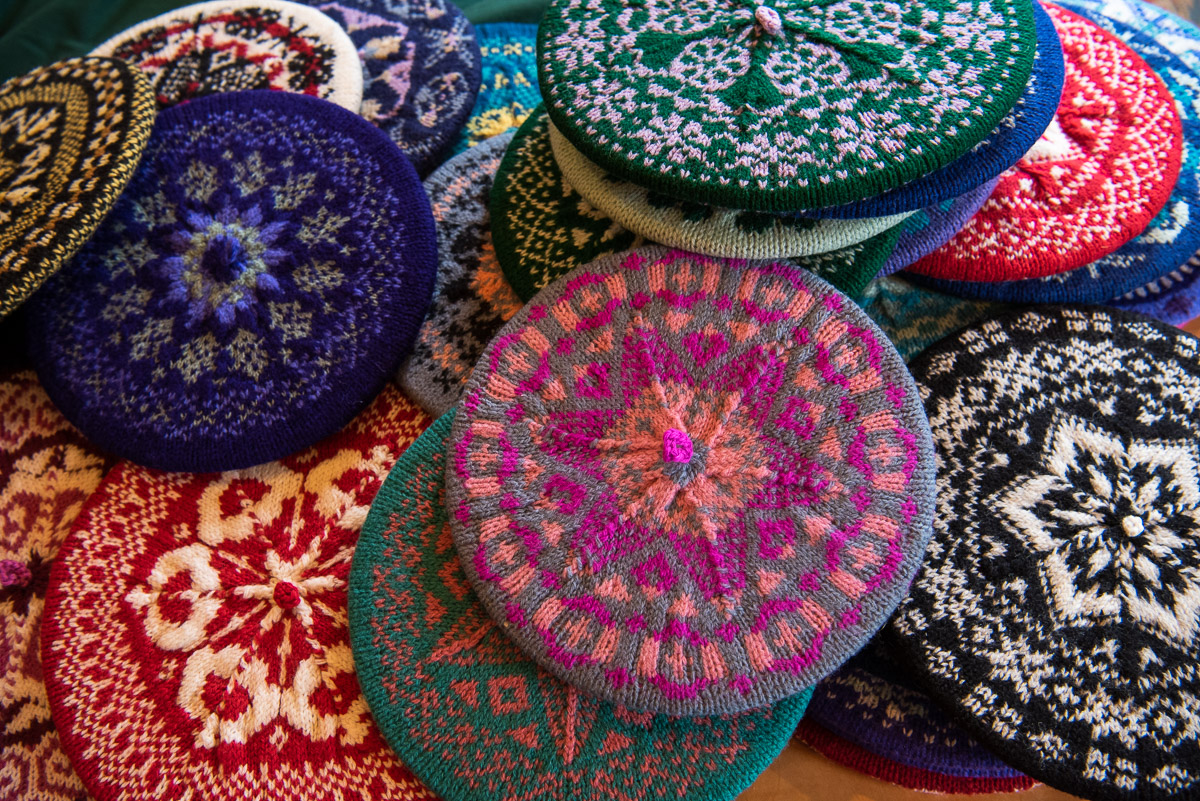 knitted tams by Linda Perry