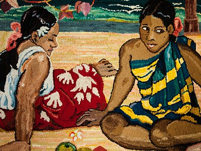 Tahitian Women hooked by Janet Conner and inspired by Paul Gaugin
